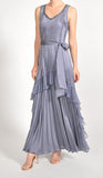 Komarov Sleeveless Long Ruffle Dress