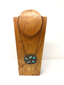 Bora Turquoise Medallion Necklace