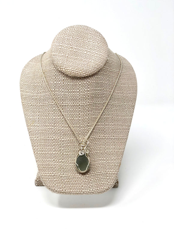 Coastal Charms Wrapped Sea Glass Necklace