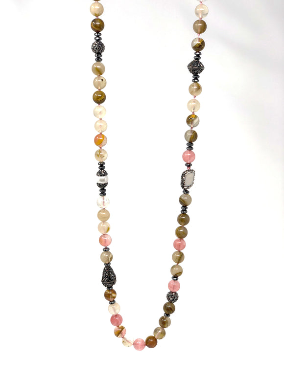Behroz Watermelon Quartz Beaded Necklace