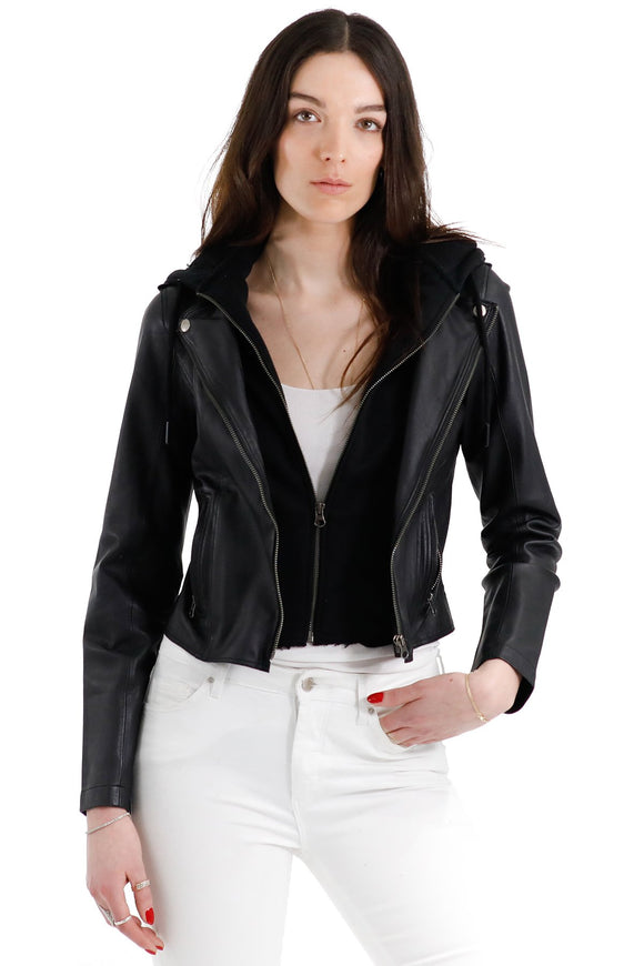Jakett NYC Molly Black Leather Jacket with Hoodie