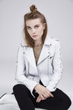 Jakett NYC Savannah White Burnished Cropped Leather Jacket