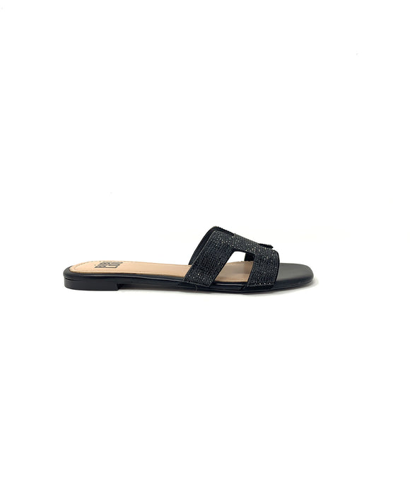 Bibi Lou Black Leather Slide Sandal