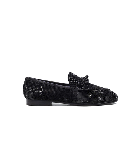 Lola Cruz Greta Leather Sparkle Loafers