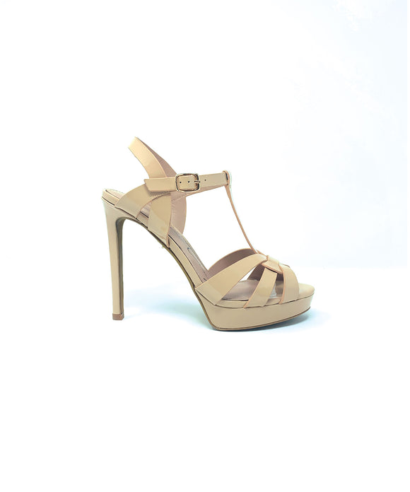 Lola Cruz Nude Leather Sandal Heels