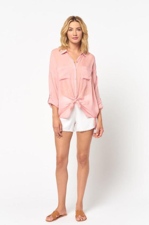 Maven West Cargo Pocket Tie Front Top Rose
