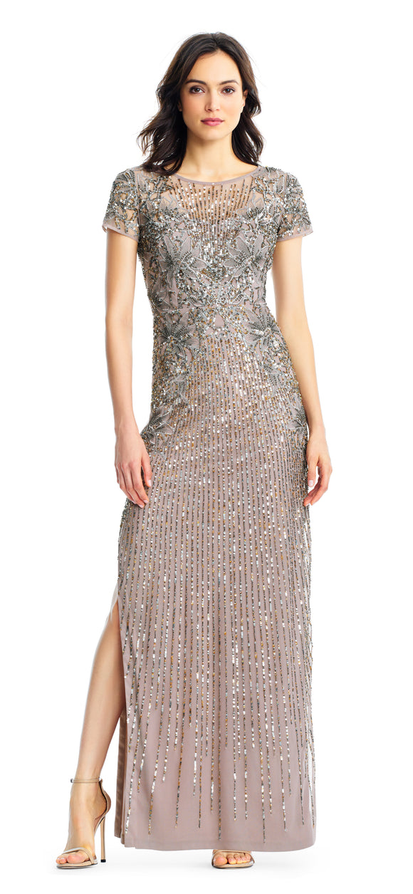 Aidan Mattox Short Sleeve Beaded Column Gown