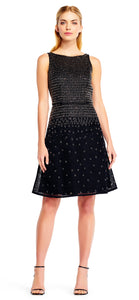 Aidan Mattox Black Sleeveless Beaded Mesh Cocktail Dress
