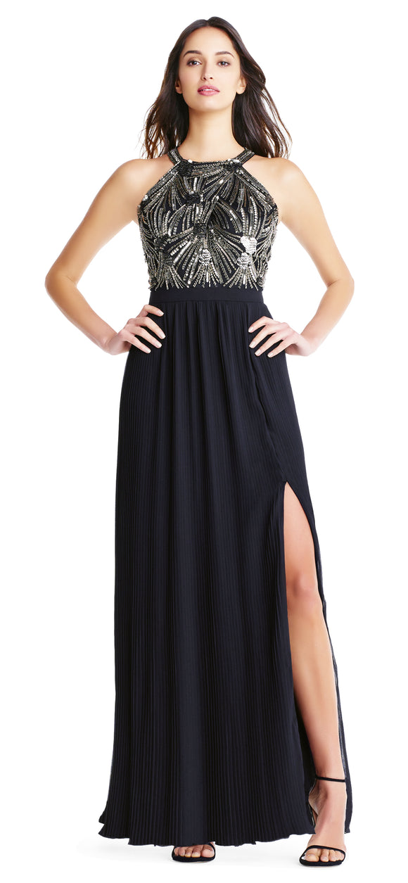Aidan Mattox Black Beaded Halter Gown