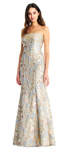 Aidan Mattox Metallic Mermaid Dress with Spaghetti Straps
