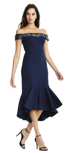Aidan Mattox Navy Off the Shoulder Mermaid Dress