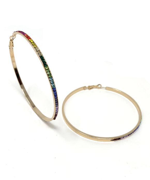 Large Gold Rainbow Hoops