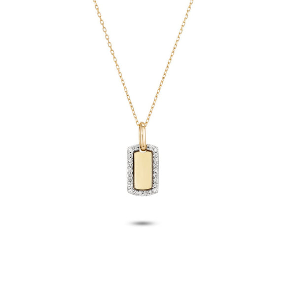 Adina Reyter 14k Gold Tiny Pavé Diamond Dog Tag Necklace