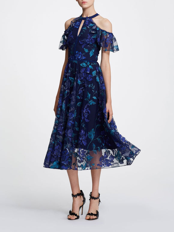 Marchesa Notte Floral Cold Shoulder Dress Navy