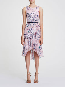 Marchesa Notte Floral Print Cocktail Dress Navy