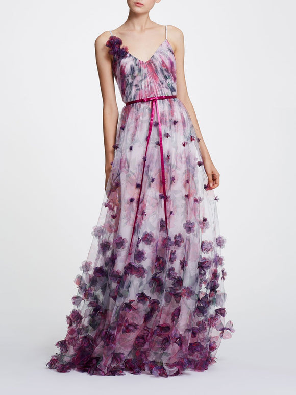 Marchesa Notte V-neck Printed Floral Tulle Gown