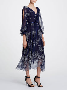Marchesa Notte Long Sleeve Floral Tulle Chiffon Gown Navy