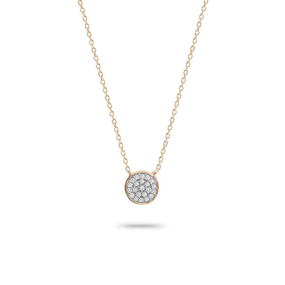 Adina Reyter 14K Gold Solid Pavé Diamond Disc Necklace
