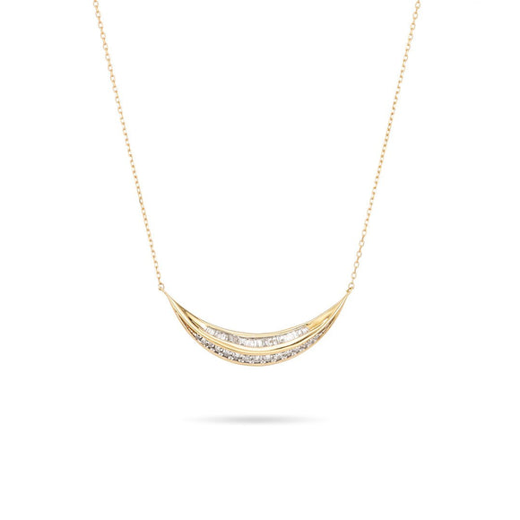 Adina Reyter 14k Yellow Gold Heirloom Large Baguette Diamond Curve Necklace