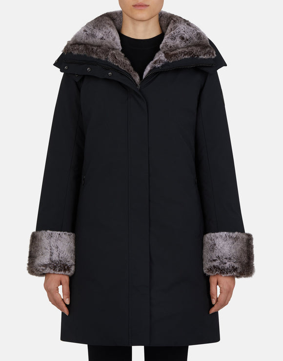 Save the Duck Women's Smeg Hooded Parka Faux Fur Black