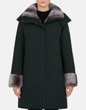 Save the Duck Women's Smeg Hooded Parka Faux Fur Green Black