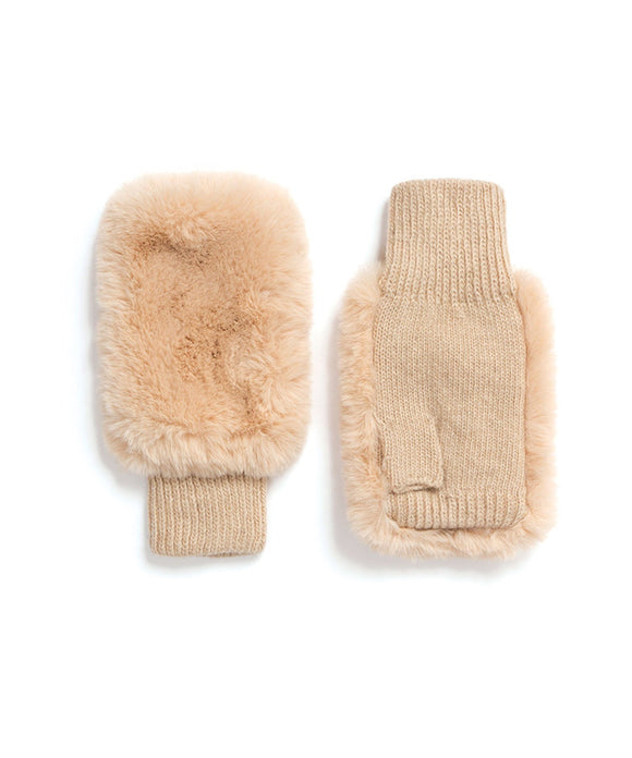 Pia Rossini Faux Fur Fingerless Gloves Honey