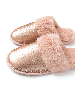 Pia Rossini Kasha Faux Fur Slipper Blush