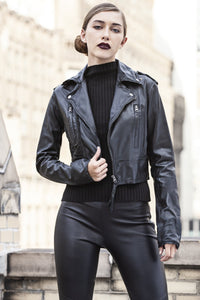 Jakett NYC Erin Burnished Leather Cropped Jacket Black