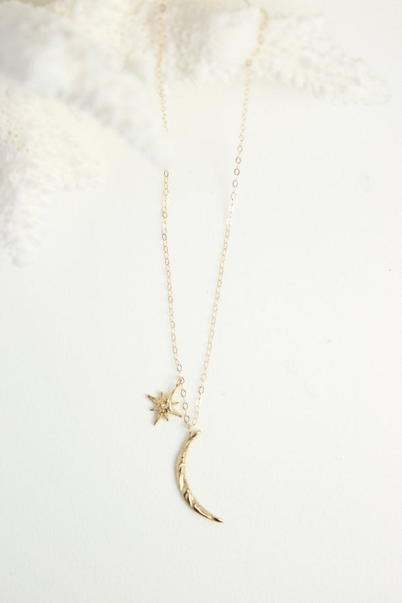 Robin Haley Middle Moon N' Star Charm Necklace