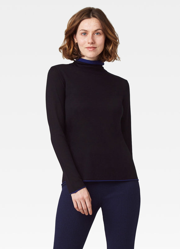 Ecru Double Mock Neck Turtle Neck Sweater Black Cobalt