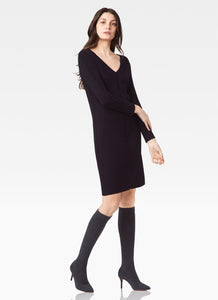 Ecru V-Neck Sweater Dress Black