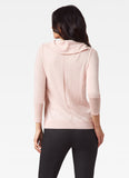 Ecru Detachable Cowl Neck Cashmere Blend Sweater Pink