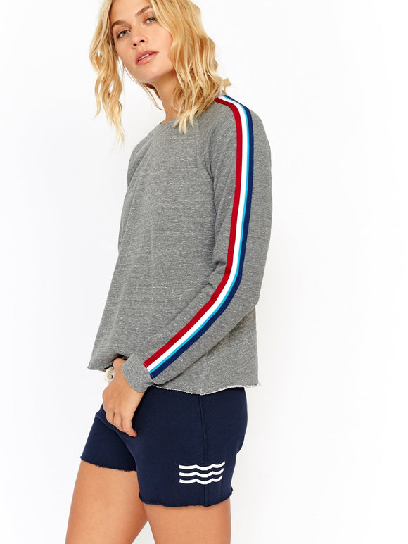 Sol Angeles Flag Stripe Cropped Pullover