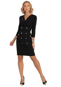 Joseph Ribkoff Military Black Sleeved Dress