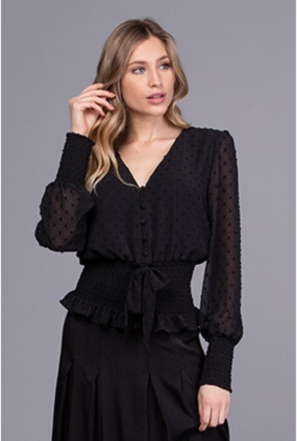 Q&A Smocked Long Sleeve Tie Front Top Black