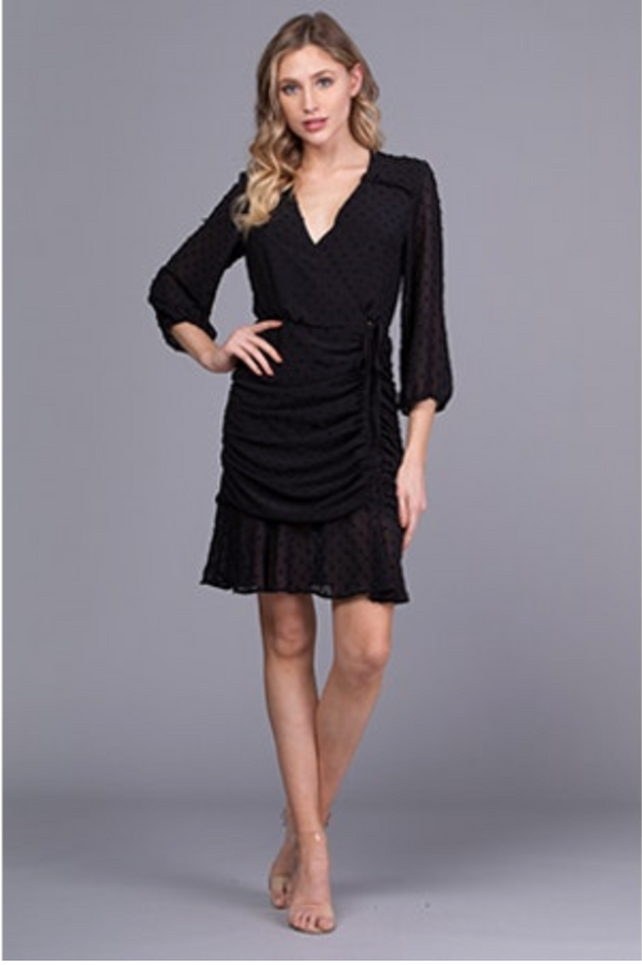 Q&A Long Sleeve Surplice Rouched Dress