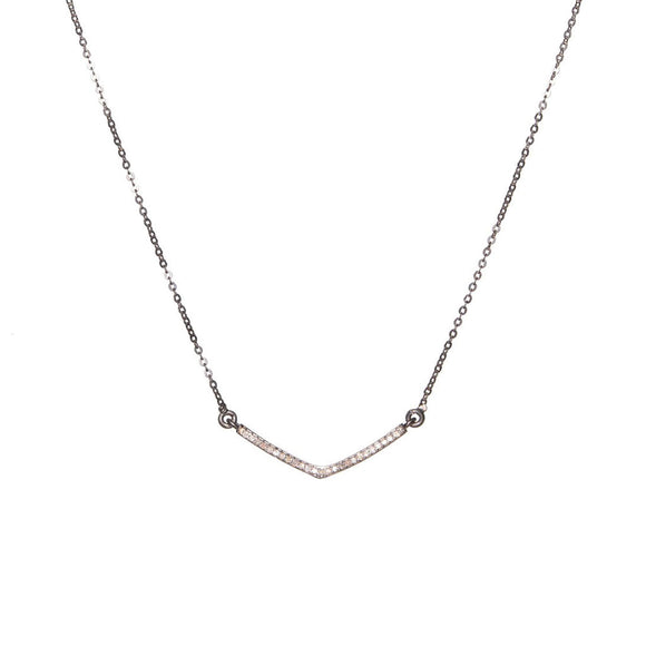 Shana Gulati Sterling Silver Pavé Diamond Small V Pendant Layering Necklace