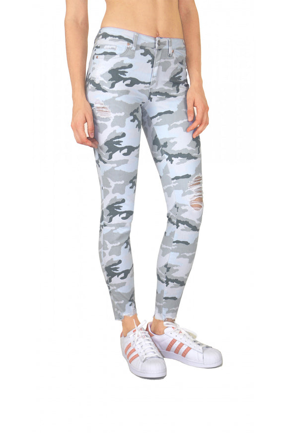 Tractr Blu Destructed Camo Ankle Skinny