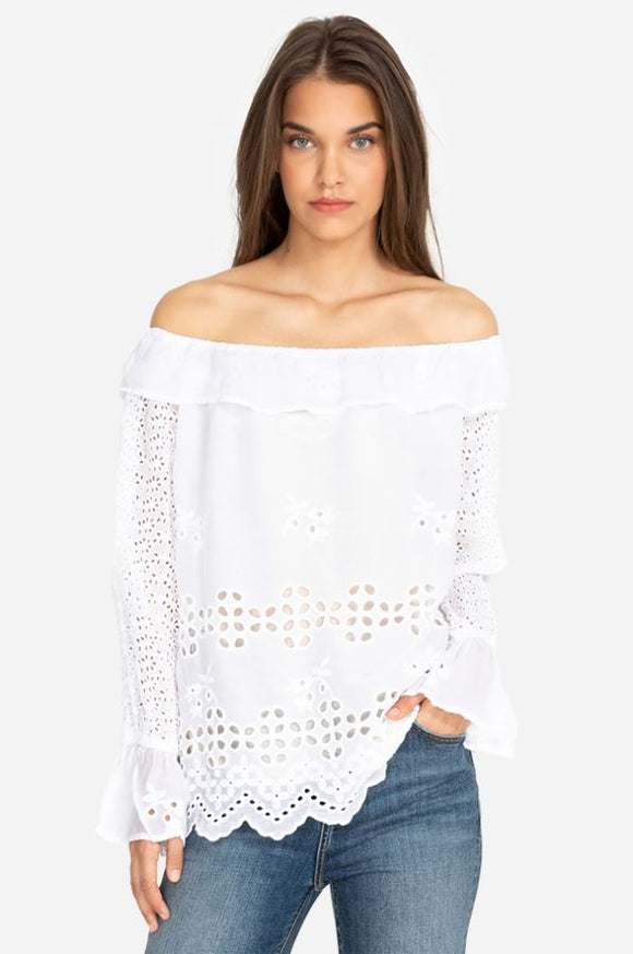 Johnny Was Lilith White Off Shoulder Top