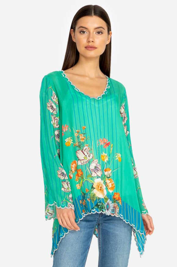 Johnny Was Stella Flare Sleeve Floral Blouse