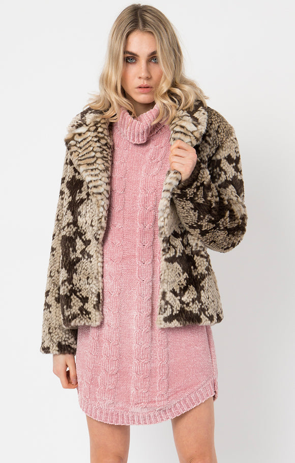 Pia Rossini Snake Print Faux Fur Jacket
