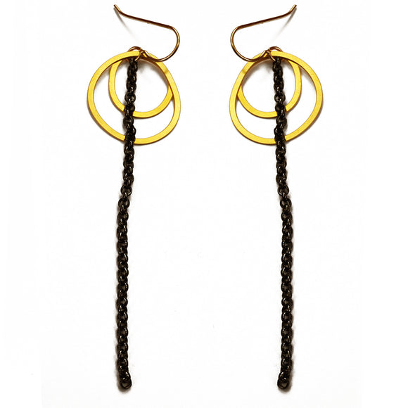 Daphne Olive Double Circle 20K Gold Earrings