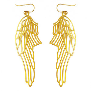 Daphne Olive 20K Gold Angel Wing Earrings