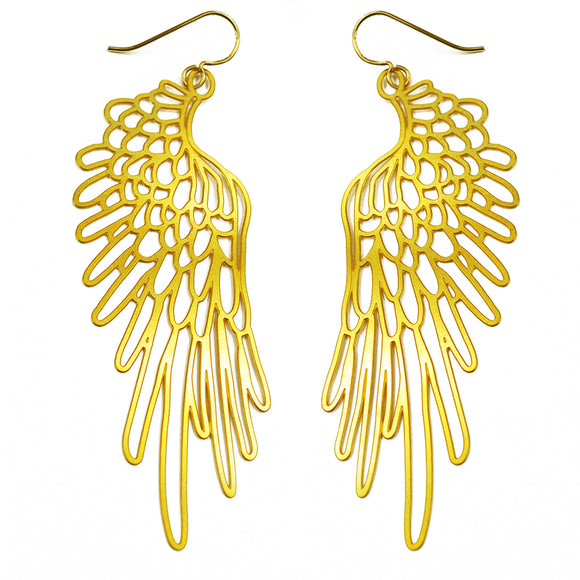 Daphne Olive 20K Gold Wing Earrings