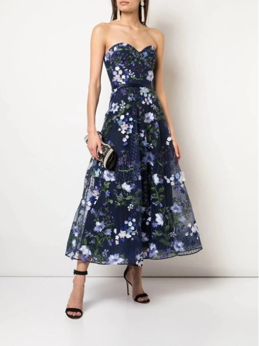 Marchesa Notte Strapless 3D Floral Embroidered Dress