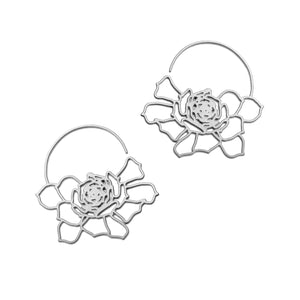 Daphne Olive Sterling Silver Stainless Steel Bloom Hoops