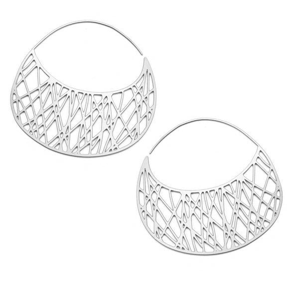 Daphne Olive Filament Silver Hoops