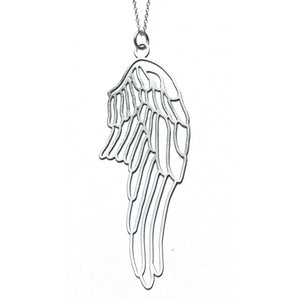 Daphne Olive Stainless Steel Sterling Silver Wings Necklace