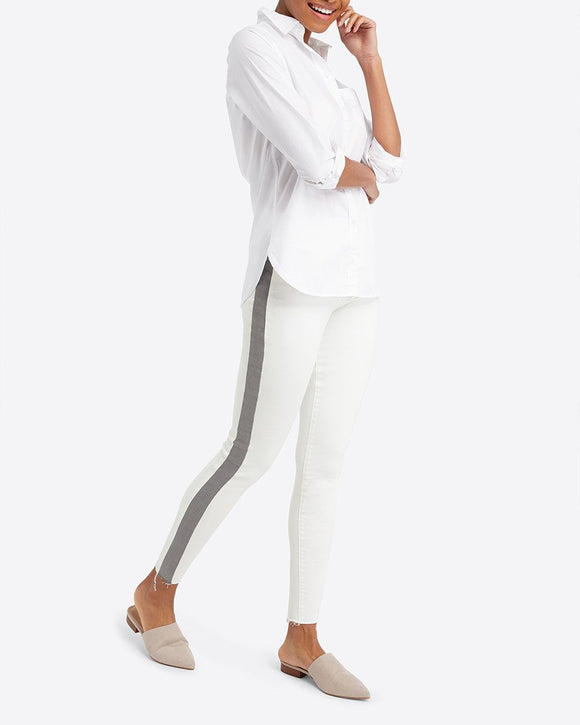 Spanx White Distressed Skinny with Side Stripe