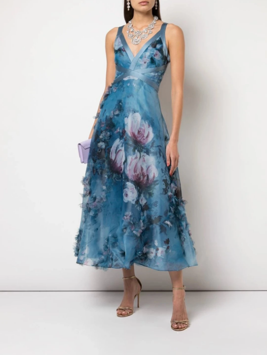 Marchesa Notte V-Neck 3D Floral Print Dress in Blue